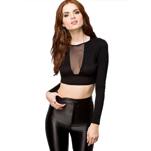 Sexy Europe Women T-Shirt Sheer Mesh Patchwork Crew Neck Long Sleeve Slim Crop Top Black