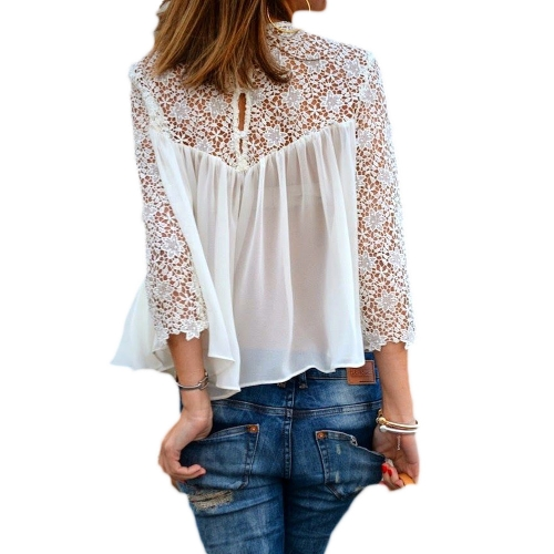 Buy Fashion Women Blouse Crochet Lace Sheer Long Sleeve Round Neck Loose Tops Shirt White