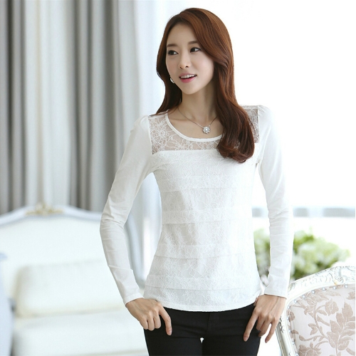 Buy Fashion Women Slim T-shirt Floral Lace Crew Neck Long Sleeve Elegant Tops Blouse White