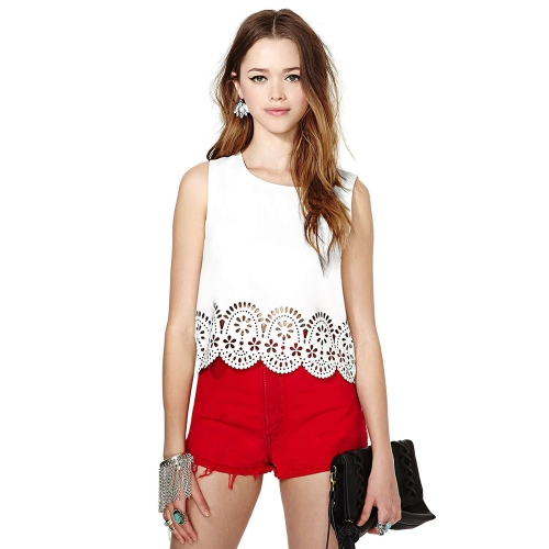 Buy Fashion Women Chiffon T-Shirt Floral Hollow Hem Round Neck Sleeveless Tank Top Blouse White