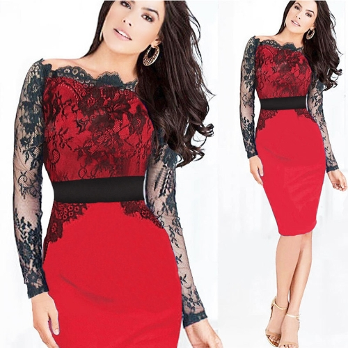 New Fashion Women Dress Off The Shoulder Floral Lace Color Block Elegant Pencil Dress Purple/Blue/Red
