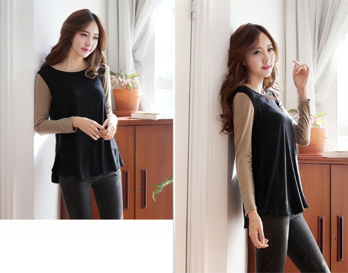 Buy Fashion Women T-shirt Contrast Patchwork O-Neck Long Sleeve Casual Blouse Tops Coffee&Black