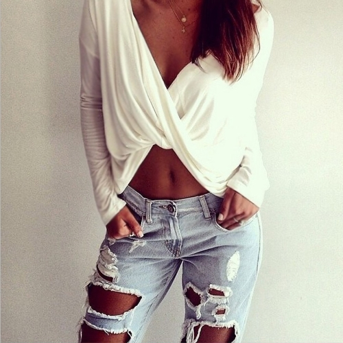 Buy Sexy Women Crop Top Deep V Neck Cross Twisted Front Long Sleeve Casual T-shirt White