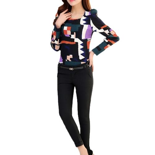 Buy Fashion Women Top Vintage Print Puff Long Sleeve Crew Neck Slim Elegant Lady Blouse