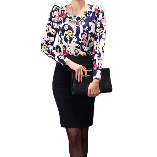 Buy Fashion Women Top Vintage Lips Print Puff Long Sleeve Round Neck Slim Elegant Lady Blouse