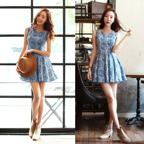 Fashion Women Cute Dress Floral Print Cut-out Shoulder Zipper Back Crew Neck Sleeveless Pleated Mini Dress Blue