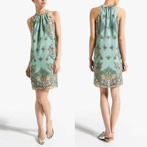 New Fashion Women Dress Chiffon Print Halter Neckline Off Shoulder Sleeveless Vintage One-piece Green