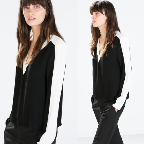 Buy Fashion Women Contrast Blouse V Neck Patchwork Split Hem Long Sleeve Top Shirt Black