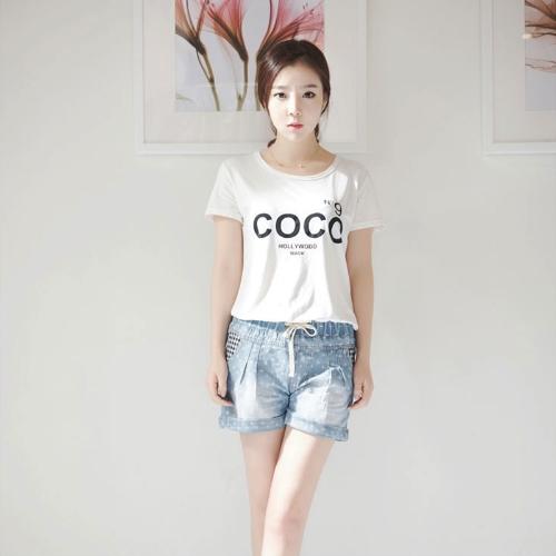 Buy Summer Women Denim Shorts Cross Pattern Plaid Elastic Waist Casual Jeans Trousers Hot Pants Blue