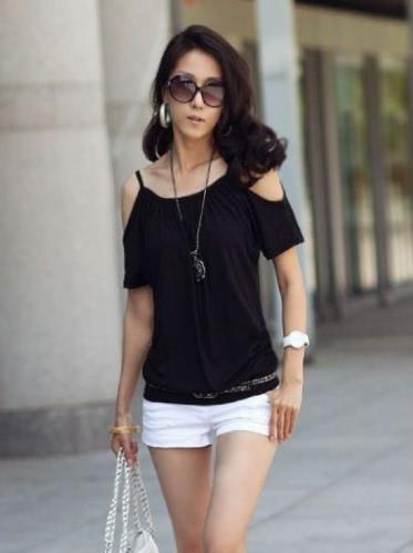 Buy Korea Sexy Women T-shirt Strap Shoulder Scoop Neck Short Sleeve Casual Loose Tee Top
