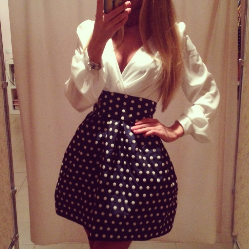 Fashion Women Chiffon Dress Polka Dot Patchwork Side Zipper Deep V Neck Long Sleeve Mini Dress White