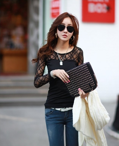 Buy Fashion Women T-shirt Stretch Floral Lace Patchwork Crew Neck Long Sleeve Slim Fit Simple Tops Black/White