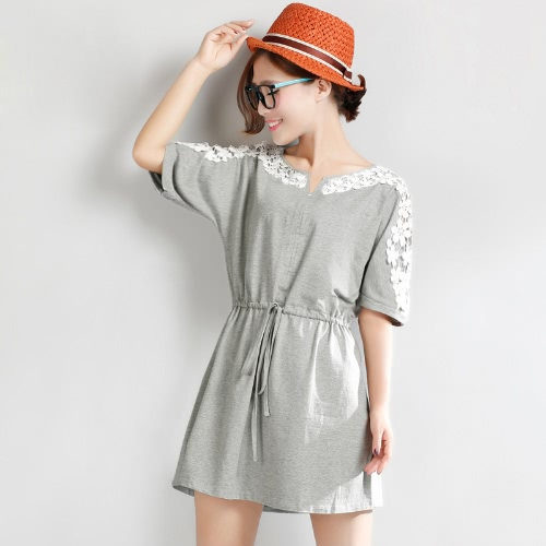 Buy Sexy Women Dress Floral Lace Short Sleeve Drawstring Waist Casual Mini Grey/White