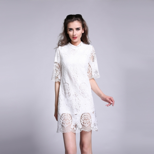 New Fashion Women Dresss Crochet Lace Solid Design Hollow Out Half Sleeve Elegant One-piece White