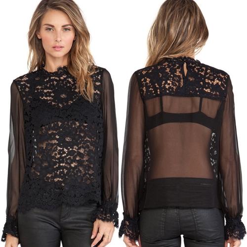 Buy Fashion Women See-through Blouse Crochet Lace Semi-Sheer Chiffon Patchwork Elastic Cuffs Shirt Top Black