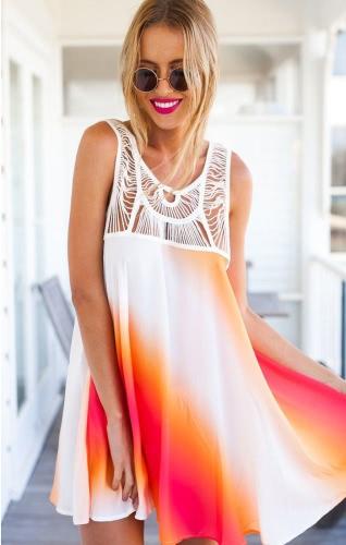 New Fashion Women Chiffon Dress Gradient Color Stripe Hollow Out Sleeveless Mini Dress Orange