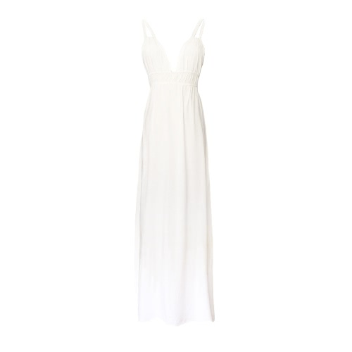 Buy Sexy V Neck Spaghetti Strap Summer Beach Maxi White Women' Dress