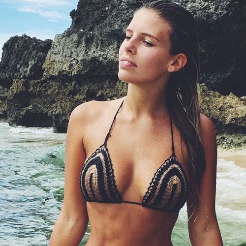 New Sexy Women Crochet Crop Top Stripe Spaghetti Strap Halter Camisole Vest Bikini Bralette Black