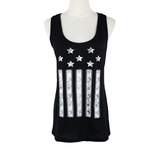 Fashion Women Vest Top Print Front Bowknot Ornament Racer Back Tank Top T-Shirt Black
