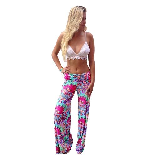 Fashion Women Vintage Trousers Floral Print Elastic Waist Wide Leg Loose Pants Rose