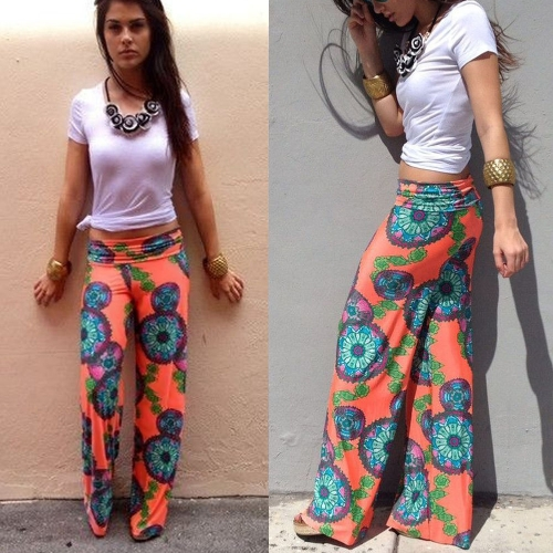 New Fashion Women Pants Contrast Floral Print Elastic Waist Loose Wide Straight Trousers Orange