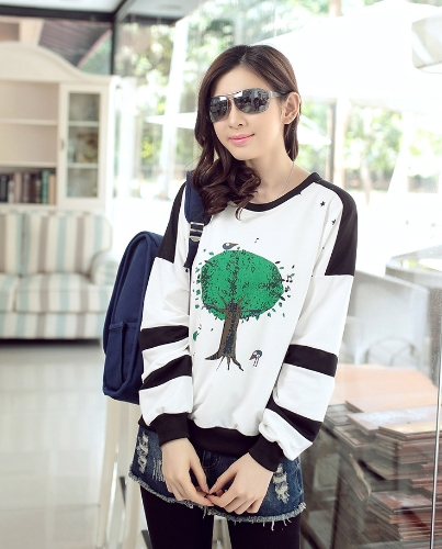 New Fashion Wemen T-shirt Birds Tree Print O-Neck Long Sleeve Loose Fit Casual Tops White