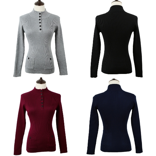 New Fashion Women Sweater Stand Collar Buttons Long Sleeve Solid Bodycon Fit Casual Knitwear