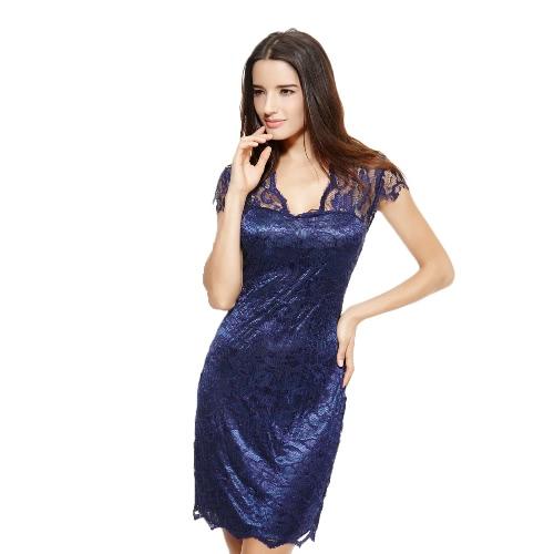 Buy Fashion Women Dress Floral Lace V Neckline Short Sleeve Knee-Length Bodycon One-piece Dark Blue