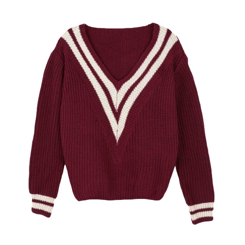 Fashion Women Knitted Sweater Deep V Neck Contrast Stripe Long Sleeve Pullover Weave Knitwear