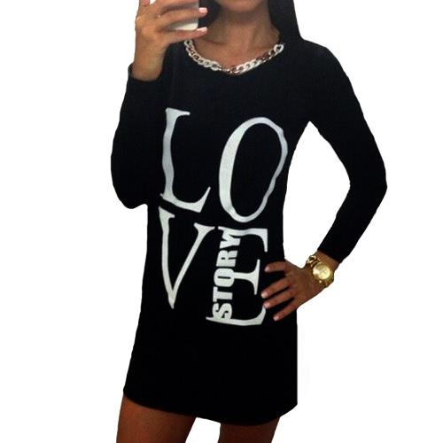 Buy Fashion Women Long T-Shirt Letter Print Sleeve Round Neck Casual Mini Dress Tops Tee Grey/Black