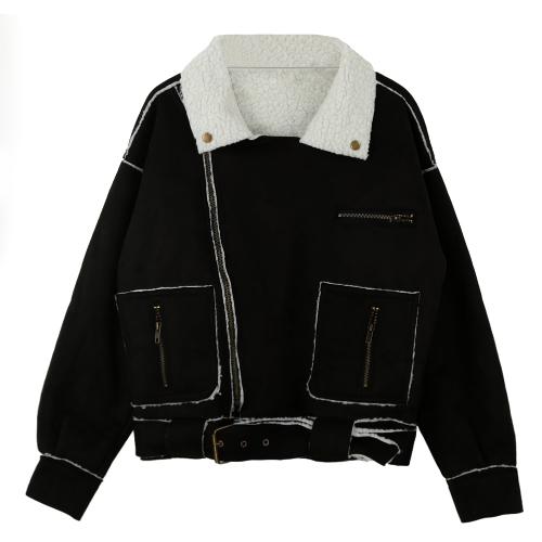 Buy Winter Women Jacket Faux Suede Zipper Turn-down Collar Pockets Belt Outerwear Warm Parka Coat