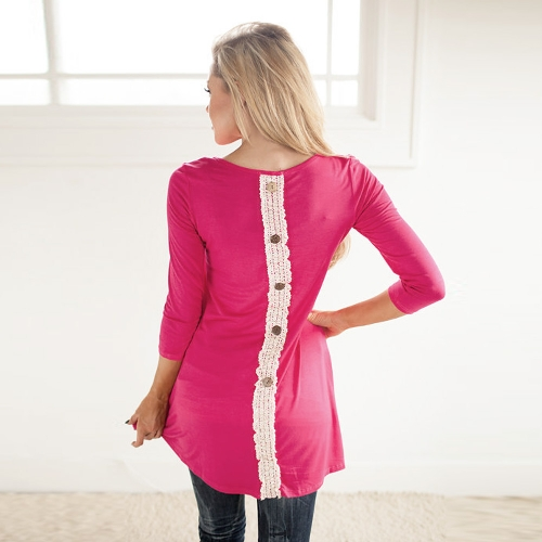 Buy Fashion Women Long T-Shirt Lace Patchwork Button Back Round Neck 3/4 Sleeve Casual Tee Dress Rose
