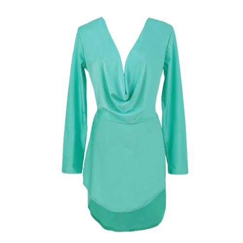 Buy Sexy Deep V Neck Long Sleeve Irregular Swallowtail Hem Club Bodycon Dress Women