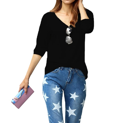 Buy Fashion Women Girl T-Shirt V-Neck Long Sleeve Solid Color Pullover Casual Loose Tops Tee Blouse Black/White