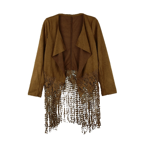 Buy Women Jacket Faux Suede Leather Crochet Lace Patchwork Tassel Casual Coat Brown/Black/Army Green