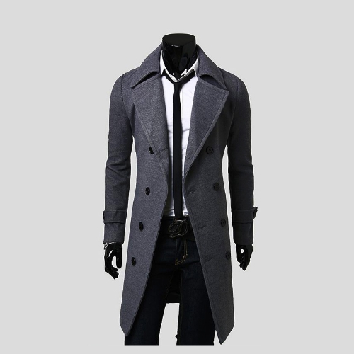 Men's Stylish Trench Coat Winter Jacket Double Breasted Overcoat от Tomtop.com INT