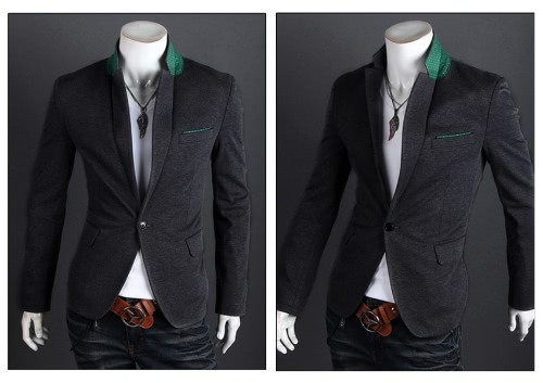 Stylish Men Suit Sexy Slim Fit One Button Casual Business Blazer Coat Jacket Grey от Tomtop.com INT
