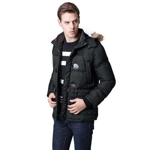Buy Fashion Winter Men Parka Faux Fur Collar Hooded Thick Warm Jacket Coat Outerwear Black