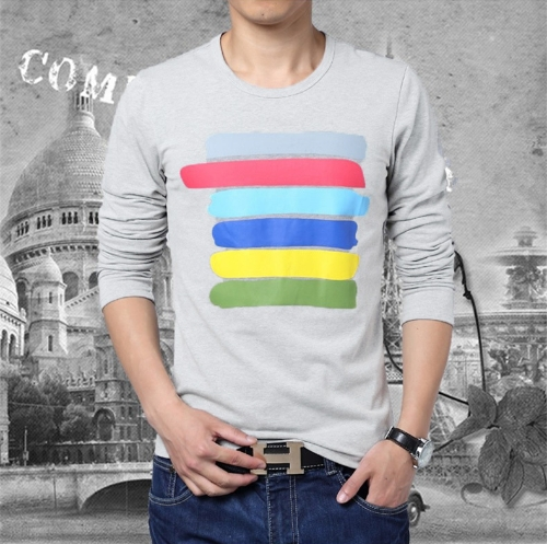 Buy Fashion Men T-shirt Color Stripes Crew Neck Long Sleeve Tops Tee Shirt Grey