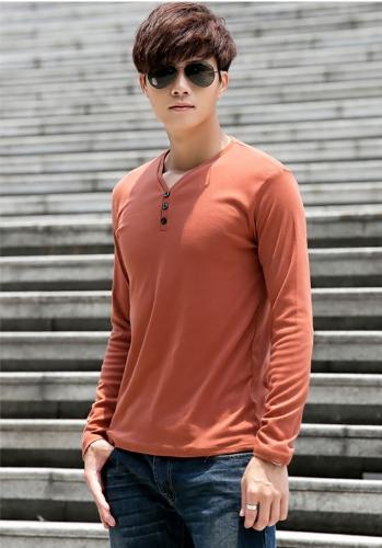 Buy Fashion Men Slim T-Shirt Buttons V-Neck Long Sleeves Casual Tops Pullover Dark Orange