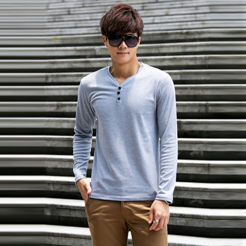 Buy Fashion Men Slim T-Shirt Buttons V-Neck Long Sleeves Casual Tops Pullover Gray