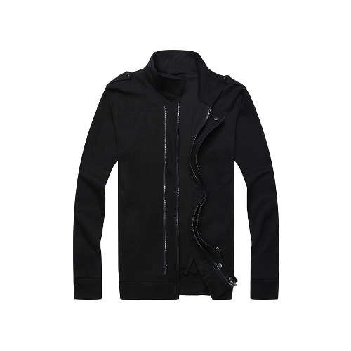 New Fashion Men Jacket Two Zippers Epaulettes Long Sleeves Slim Thin Coat Outerwear Black от Tomtop.com INT