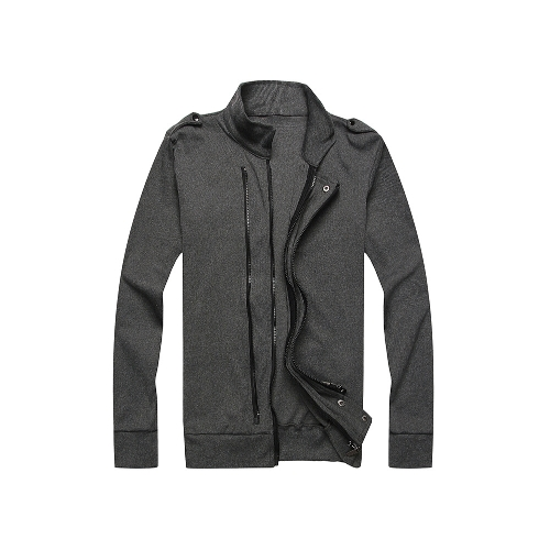 New Fashion Men Jacket Two Zippers Epaulettes Long Sleeves Slim Thin Coat Outerwear Dark Grey от Tomtop.com INT