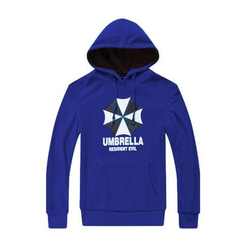 Fashion Men Hoodies Umbrella Letter Print Long Sleeves Pocket Hooded Pullover Sweatshirt Royal Blue
