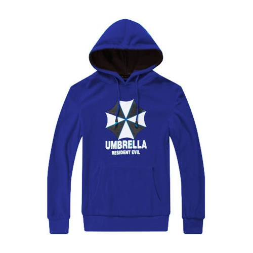Buy Fashion Men Hoodies Umbrella Letter Print Long Sleeves Pocket Hooded Pullover Sweatshirt Royal Blue