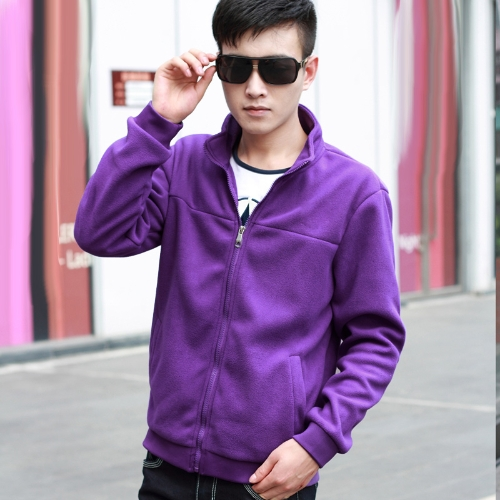 Fashion Men Thin Coat Stand Collar Long Sleeves Zipper Solid Color Casual Jacket Outerwear Purple