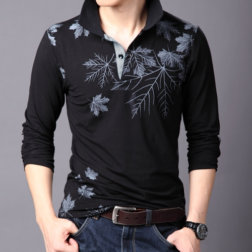 Buy Fashion Casual Men T-shirt Maple Leaf Print Long Sleeves Turn Collar Slim Tops