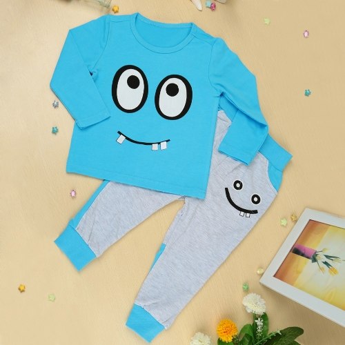 Buy Fashion Boys Girls Unisex Clothing Sets T-shirt Pants Big Eyes Small Tooth Smile Print Cute Suit