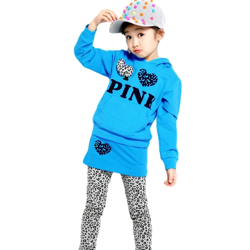 Cute Baby Girls Suit Letter Print Leopard Splicing Heart-shaped Decoration Hoodie Culottes Sets Blue от Tomtop.com INT