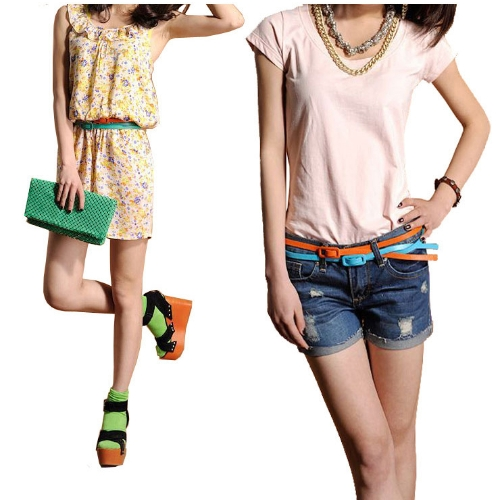 Fashion Women Girls Candy Colors Belt Adjustable Low Waist Narrow Thin Skinny Belt PU Leather Yellow